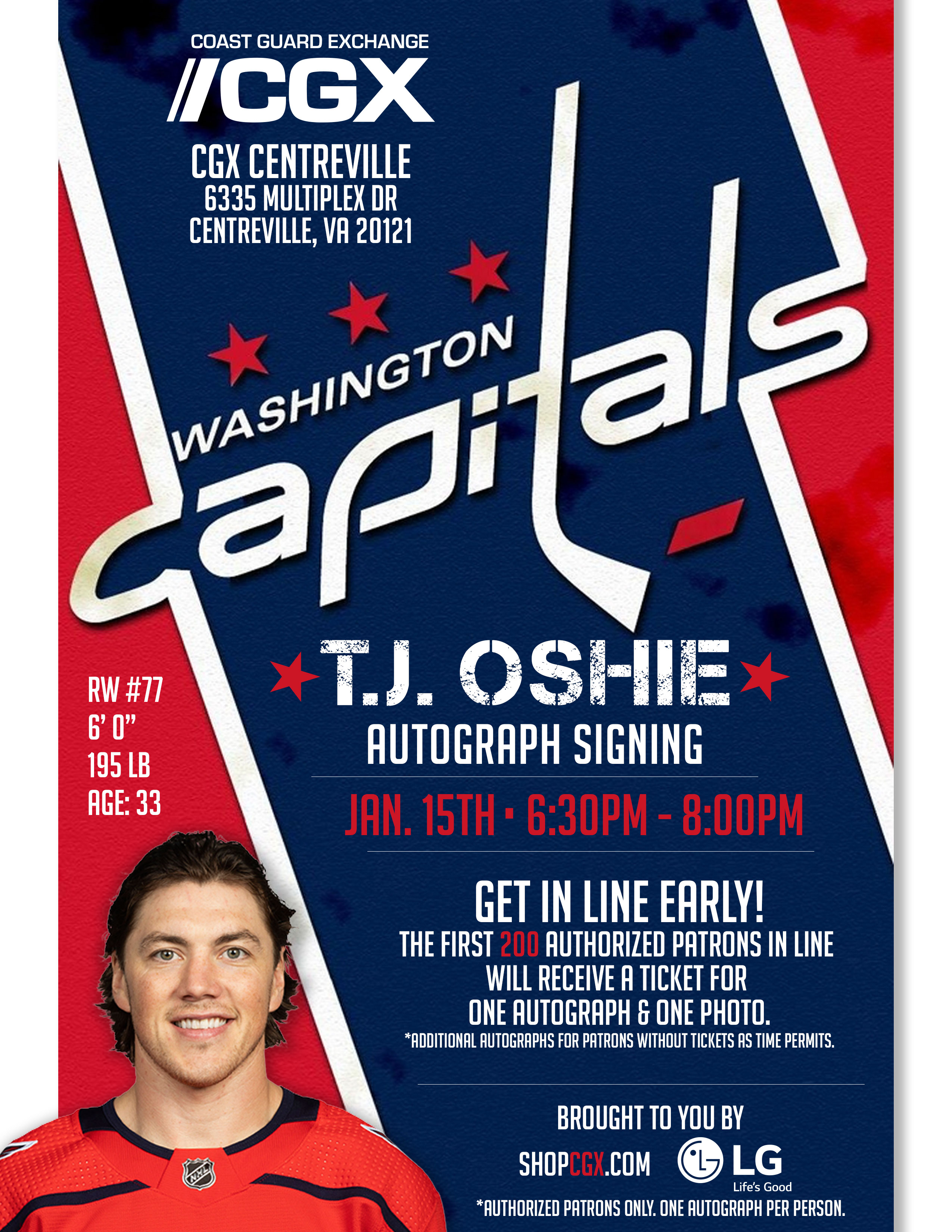 T.J. Oshie Autograph Signing