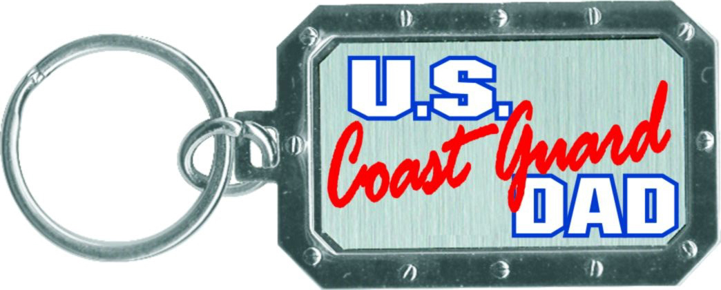 """Coast Guard Dad"" Metal Keychain"