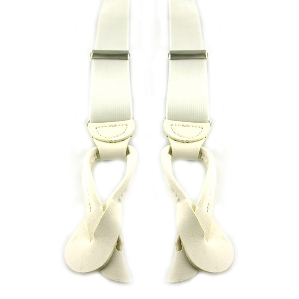 Suspenders: White with Leather-End