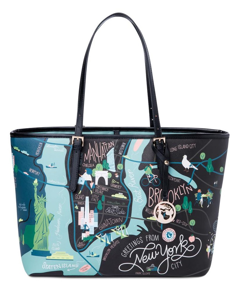 Spartina 449 Greetings From Large Map Tote New York