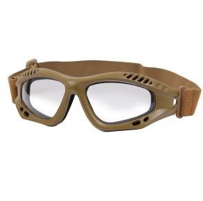Rothco ANSI Rated Tactical Goggles - Coyote Brown/Clear Front View