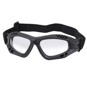 Rothco ANSI Rated Tactical Goggles - Black/Clear Front View