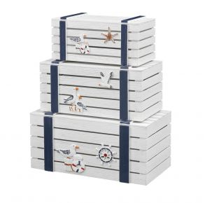 Coast to Coast Accents Nesting Trunks Set of 3 front View