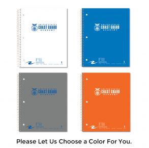 Coast Guard Academy - 1 Subject Notebook with Seal Front View of Multiple Colors