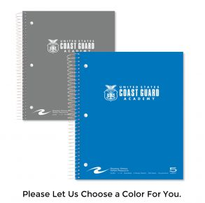 Coast Guard Academy - 5 Subject Notebook with Seal Front View of Multiple Colors