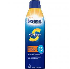 Coppertone Sport Continuous Sunscreen Spray SPF 15 - 5.5 oz. Front of Can View