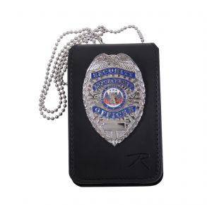 Rothco Universal Leather Badge & ID Holder Front View with Badge