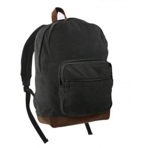 Rothco Vintage Canvas Teardrop Backpack With Leather Accents - Black/Brown Front View