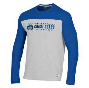 Coast Guard Academy Under Armour Mens Gameday Grid Waffle Crew Neck Long Sleeve Shirt Front of Shirt View