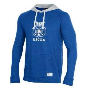 Coast Guard Academy Under Armour Mens Gameday Grid Waffle Hoodie Sweatshirt Front of Sweatshirt View