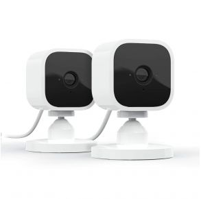 Blink Mini – Compact Indoor Plug-In Smart Security Camera, 2 Pack White Front View