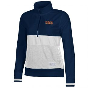 Coast Guard Under Armour Womens Gameday Anorak 1/4 Zip Pullover Front View