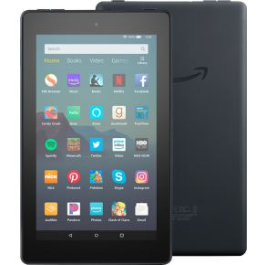"""Amazon Fire 7"""" Tablet 16GB - Black Front and Back View"""