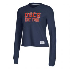 Coast Guard Under Armour Womens Gameday Crew Neck Long Sleeve Shirt Front View
