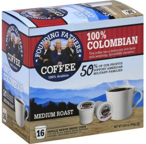 Founding Fathers Coffee Medium Roast Colombian 100% Arabica Coffee K-Cup Pods - 16 Count Front of Box View