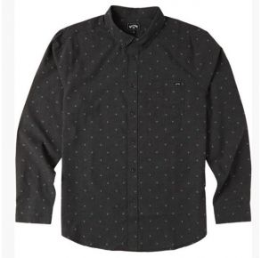 Billabong All Day Jacquard Long Sleeve Shirt - Black - Front View