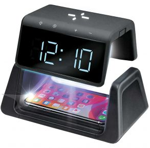 First Health UV-C Sanitizing Clock with Wireless Charging and USB Port Front View