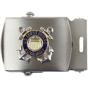 "Coast Guard Auxiliary Male 1 ¼"" Buckle Satin Silver w/USCG Auxiliary"