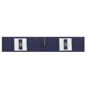 Coast Guard Auxiliary Collar Device: Double Silver Bar and Black A - Ripstop Fabric