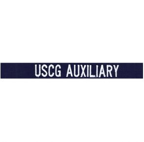 Coast Guard Auxiliary Name Tape: USCG Auxiliary White Embroidered on Blue Ripstop
