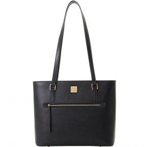Dooney & Bourke Saffiano Shopper Tote Handbag - Black Front View