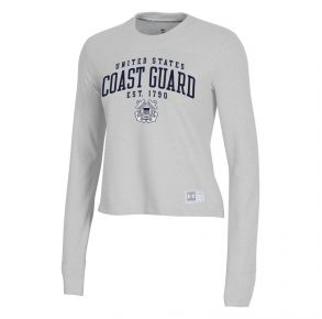 Coast Guard Under Armour Womens Est. 1790 Game Day Twill Crew Neck Long Sleeve Shirt Front View