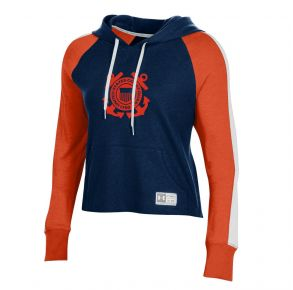 Coast Guard Under Armour Womens Game Day Waffle Hoodie Sweatshirt Front View