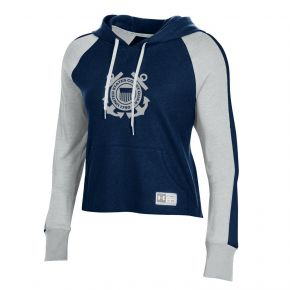 Coast Guard Under Armour Womens Game Day Twill Hoodie Sweatshirt Front View