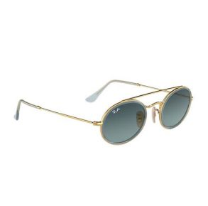 Ray-Ban Oval Double Bridge Gold/Blue Gradient Polarized Sunglasses Side View