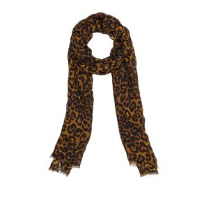 Patricia Nash Scarf - Leopard/Distressed Chocolate Trim Front Folded View