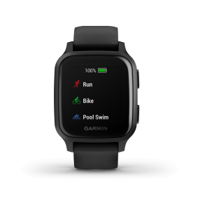 Garmin Venu Sq Music Edition - Slate Aluminum Bezel with Black Case and Silicone Band Front View