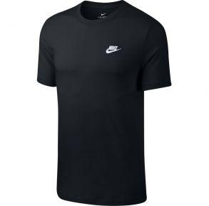 Nike Mens Nike Sportswear Club Short Sleeve T-shirt University Black with White Front View