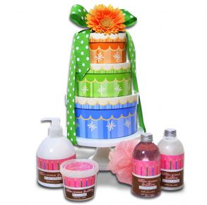 Alder Creek Gift Baskets Happy Birthday Spa Wishes Gift Tower Front View