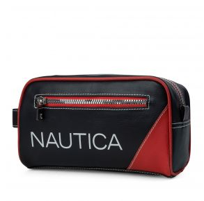Nautica Mens Core Pebbled Travel Kit - Nautica Red Front View