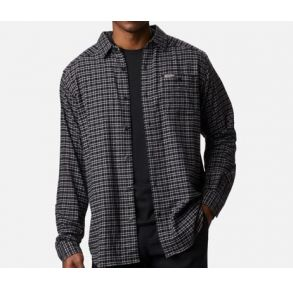 Columbia Mens Cornell Wood Flannel Shirt Nimbus Gray Plaid Front View