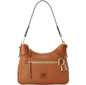 Dooney & Bourke Pebble Grain Hobo Handbag - Caramel Front View