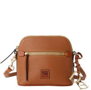 Dooney & Bourke Pebble Grain Domed Crossbody Handbag - Caramel Front View