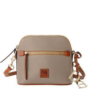 Dooney & Bourke Pebble Grain Domed Crossbody Handbag - Taupe Front View