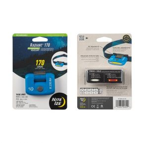 Nite Ize Radiant Rechargeable Headlamp - 170 Lumen - Blue Front and Back of Package View