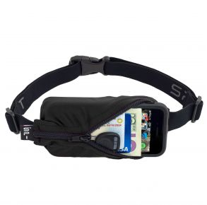 SPIbelt The Original Running Belt - Black Front with Unzipped Zipper Holding Phone and Personal Cards View