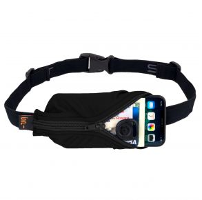 SPIbelt Large Pocket Running Belt - Black Front with iPhone and Personal Cards View