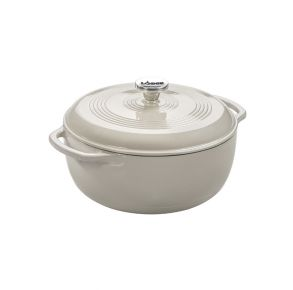 Lodge 6 Quart Oyster Enameled Cast Iron Dutch Oven - White Front View