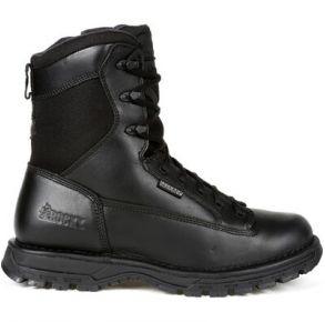 """Rocky Mens Portland 8"""" Black Side Zip Waterproof Public Service Boot Right View"""