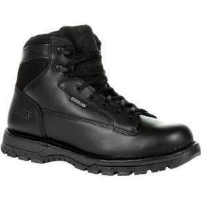 """Rocky Mens Portland 6"""" Black Side Zip Waterproof Public Service Boot Right View"""