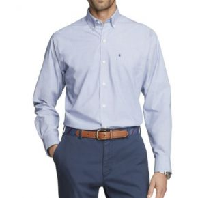Izod Mens Advantage Perfect Long Sleeve Woven Shirt Front View