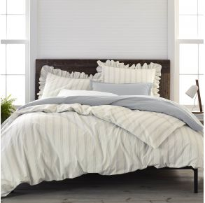 EcoPure Comfort Wash Brooke Duvet Cover Set - Twin - Gray Front View