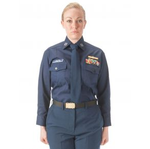 Female Winter Dress Blue Shirt Front View