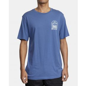 RVCA Mens De-Sal Short Sleeve T-Shirt Classic Blue Front View