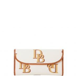 Dooney & Bourke Monogram Continental Clutch Wallet  - Beige Front View