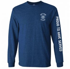 Coast Guard Mens Veteran Proud To Serve Long Sleeve T-Shirt Front View